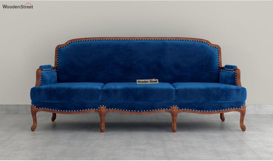 Margret 3 Seater Sofa (Velvet, Indigo Blue)-3