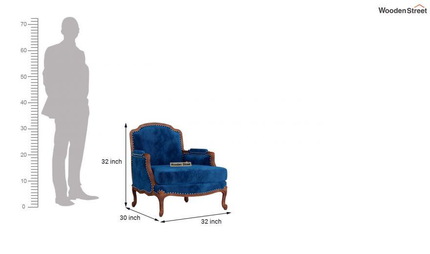 Margret 3 Seater Sofa (Velvet, Indigo Blue)-9