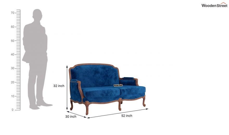 Margret 3 Seater Sofa (Velvet, Indigo Blue)-10
