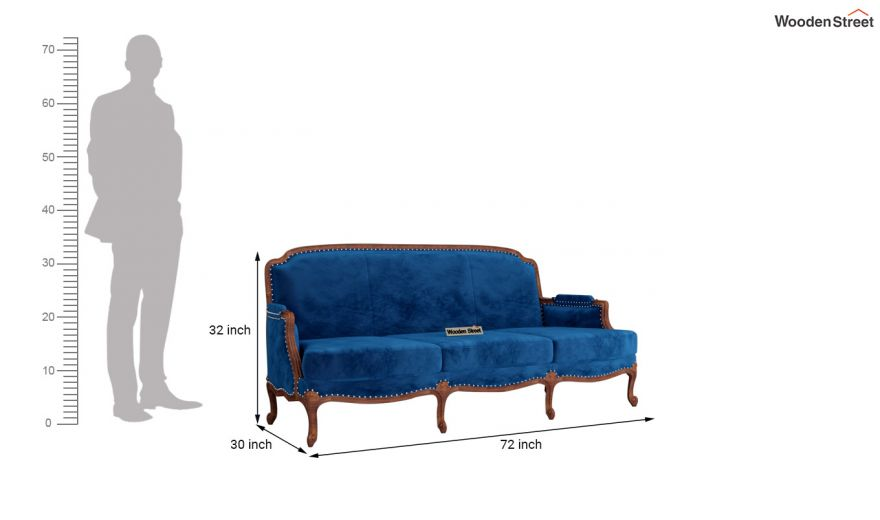 Margret 2 Seater Sofa (Velvet, Indigo Blue)-11