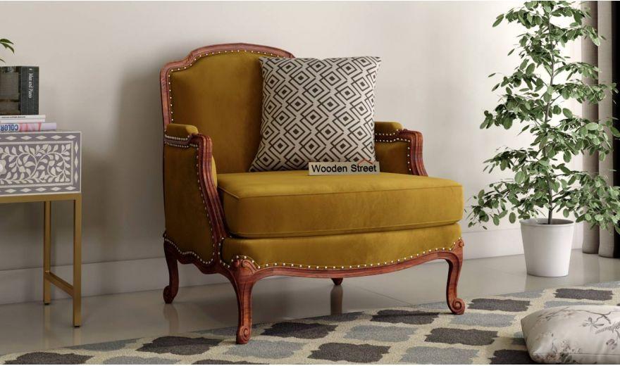 Margret 3 Seater Sofa (Velvet, Chestnut Brown)-5