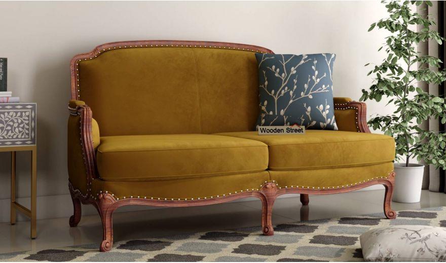 Margret 3 Seater Sofa (Velvet, Chestnut Brown)-7