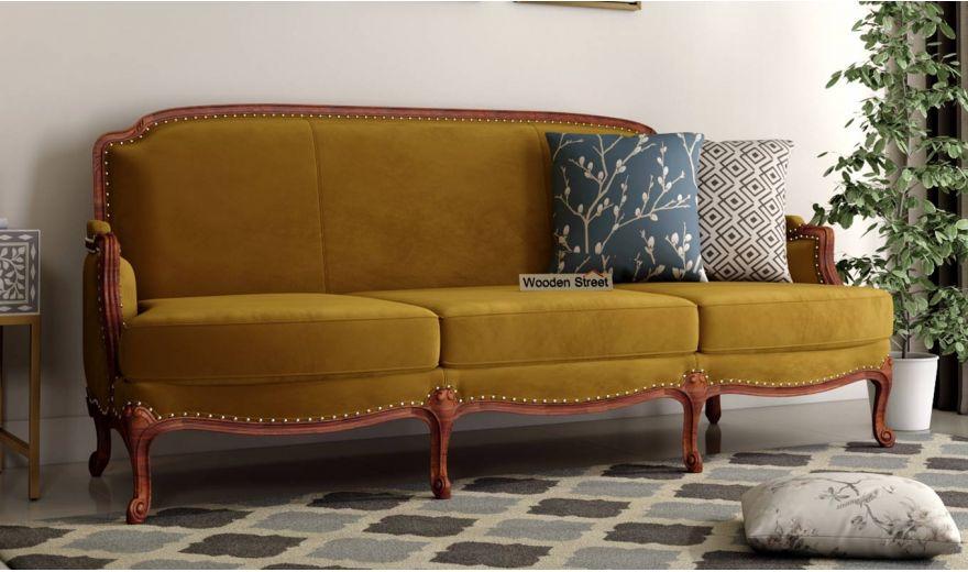 Margret 3 Seater Sofa (Velvet, Chestnut Brown)-1