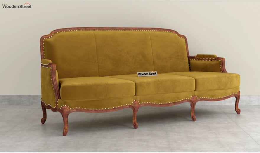 Margret 3 Seater Sofa (Velvet, Chestnut Brown)-2