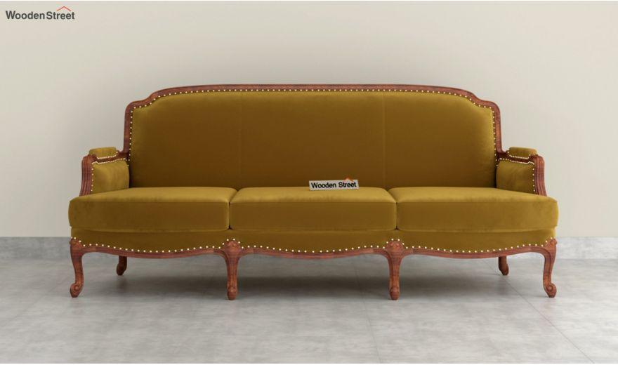 Margret 3 Seater Sofa (Velvet, Chestnut Brown)-3