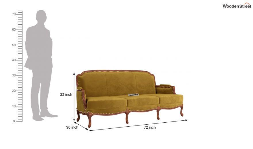 Margret 3 Seater Sofa (Velvet, Chestnut Brown)-11
