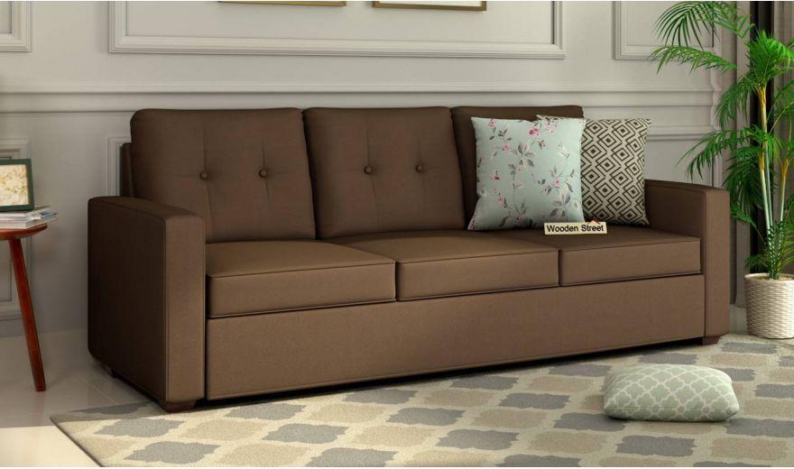 Nicolas 3 Seater Sofa (Cotton, Classic Brown)-1
