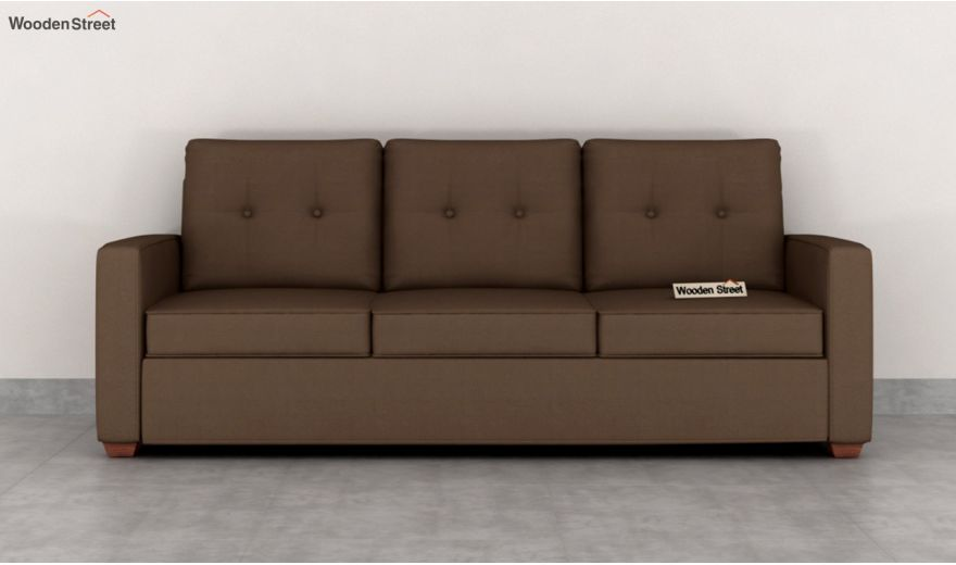 Nicolas 3 Seater Sofa (Cotton, Classic Brown)-3