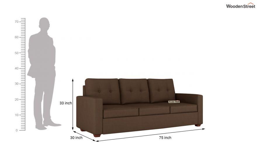 Nicolas 3 Seater Sofa (Cotton, Classic Brown)-11