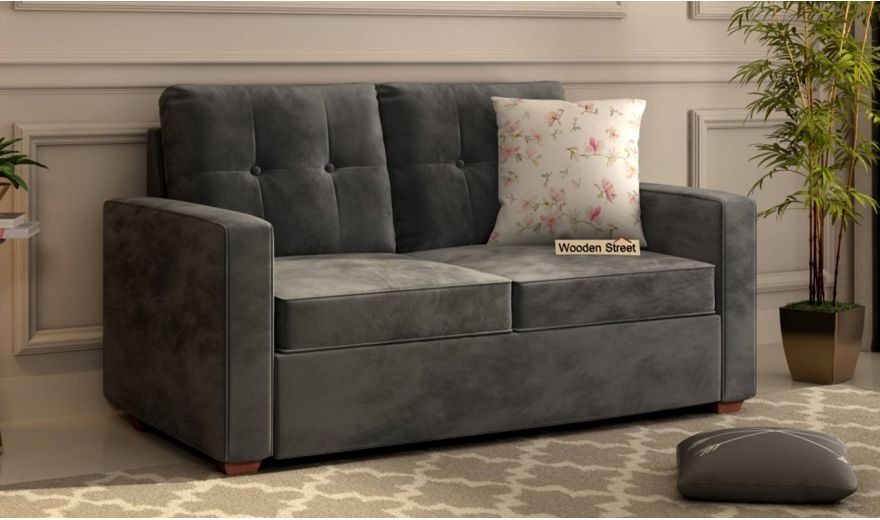 Nicolas 2 Seater Sofa (Velvet, Graphite Grey)-1