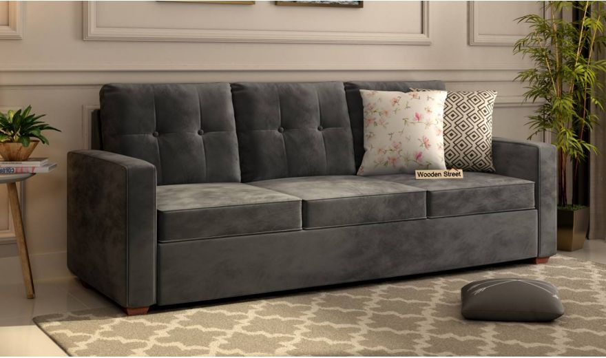 Nicolas 2 Seater Sofa (Velvet, Graphite Grey)-7