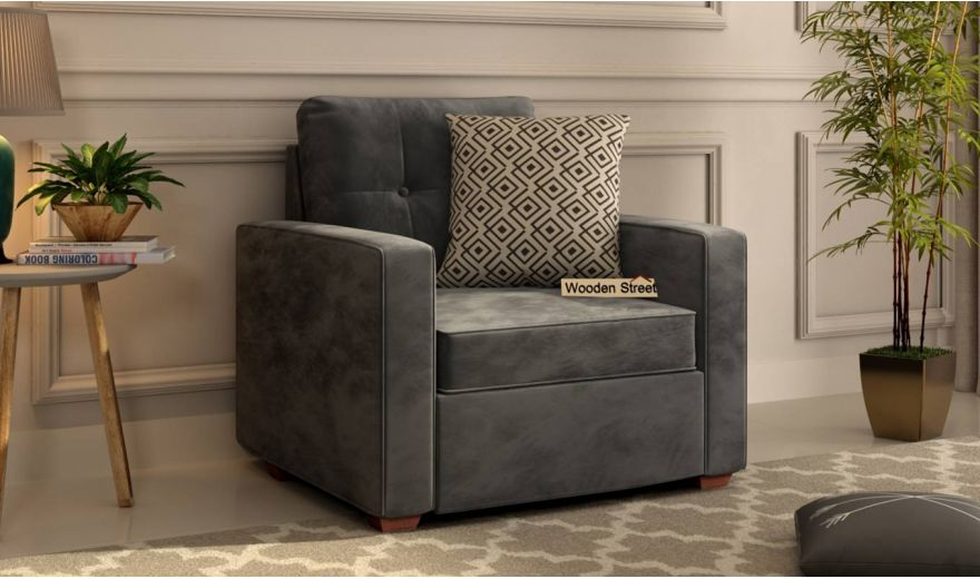Nicolas 2 Seater Sofa (Velvet, Graphite Grey)-5