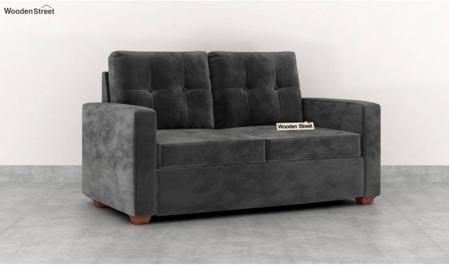 Nicolas 2 Seater Sofa (Velvet, Graphite Grey)-2