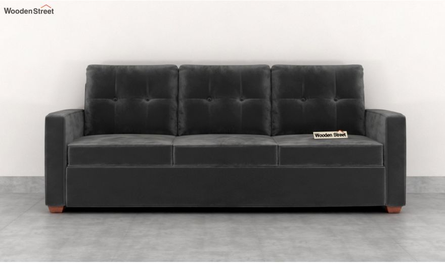 Nicolas 2 Seater Sofa (Velvet, Graphite Grey)-8