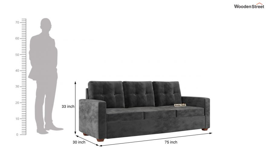 Nicolas 2 Seater Sofa (Velvet, Graphite Grey)-11
