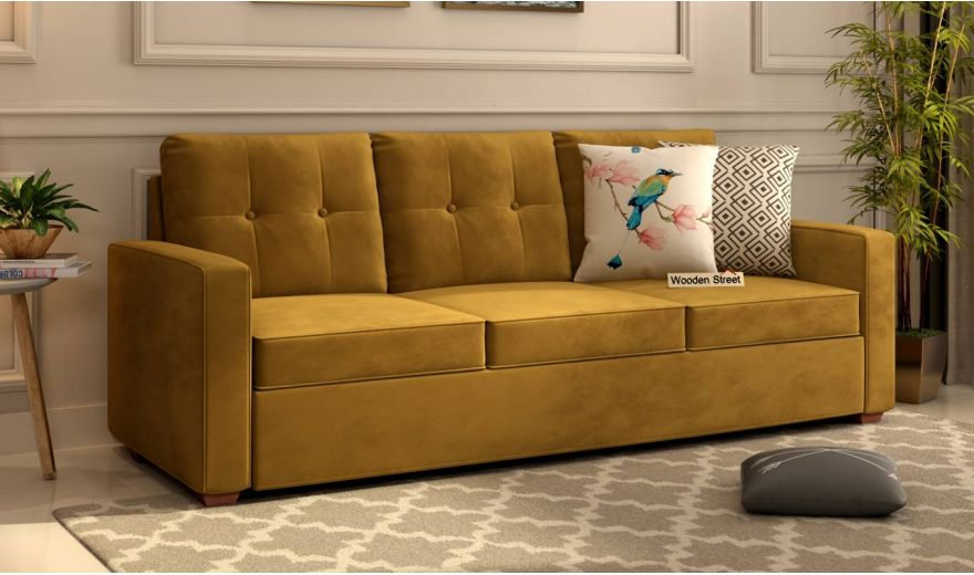 Nicolas 3 Seater Sofa (Velvet, Chestnut Brown)-1