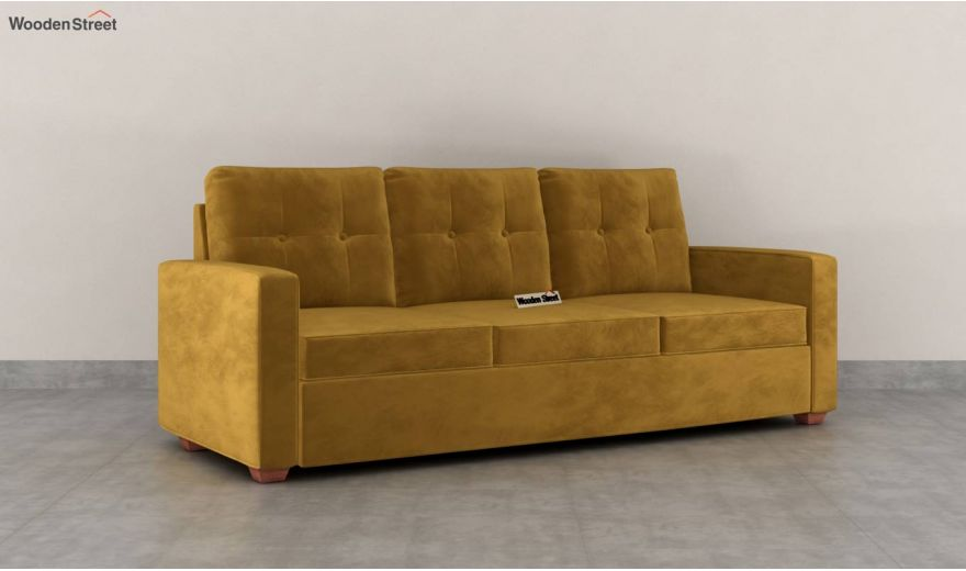 Nicolas 3 Seater Sofa (Velvet, Chestnut Brown)-2