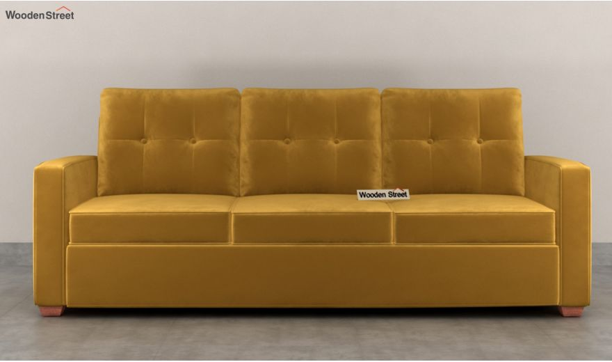 Nicolas 3 Seater Sofa (Velvet, Chestnut Brown)-3