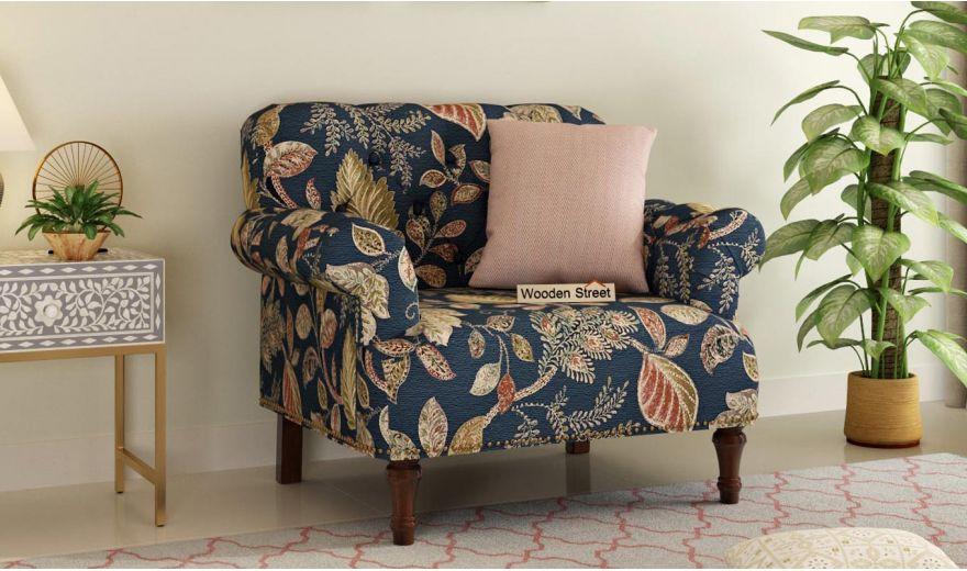 Parker 3 Seater Sofa (Fabric, Dusky Leaf)-6