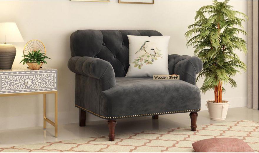 Parker 3 Seater Sofa (Velvet, Graphite Grey)-8
