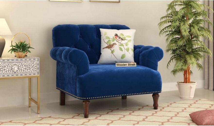 Parker 3 Seater Sofa (Velvet, Indigo Blue)-8