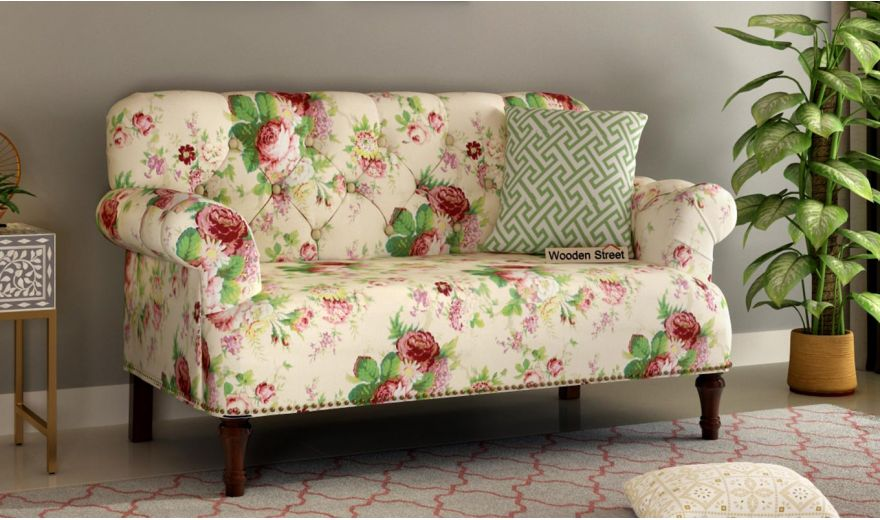Parker 2 Seater Sofa (Fabric, Cream Blossom)-1