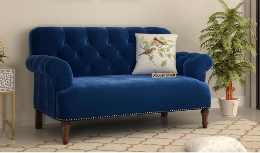 Parker 3 Seater Sofa (Velvet, Indigo Blue)-10