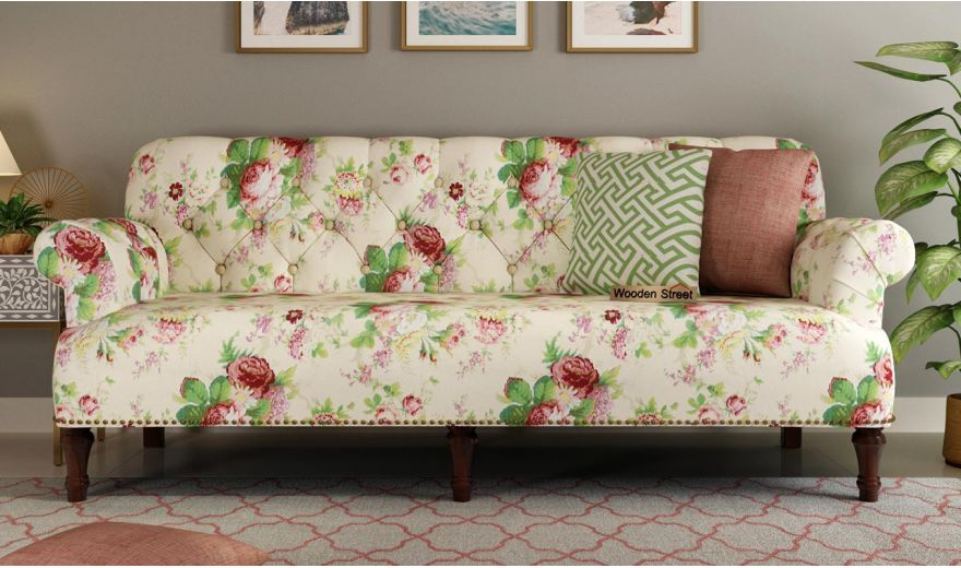 Parker 2 Seater Sofa (Fabric, Cream Blossom)-6