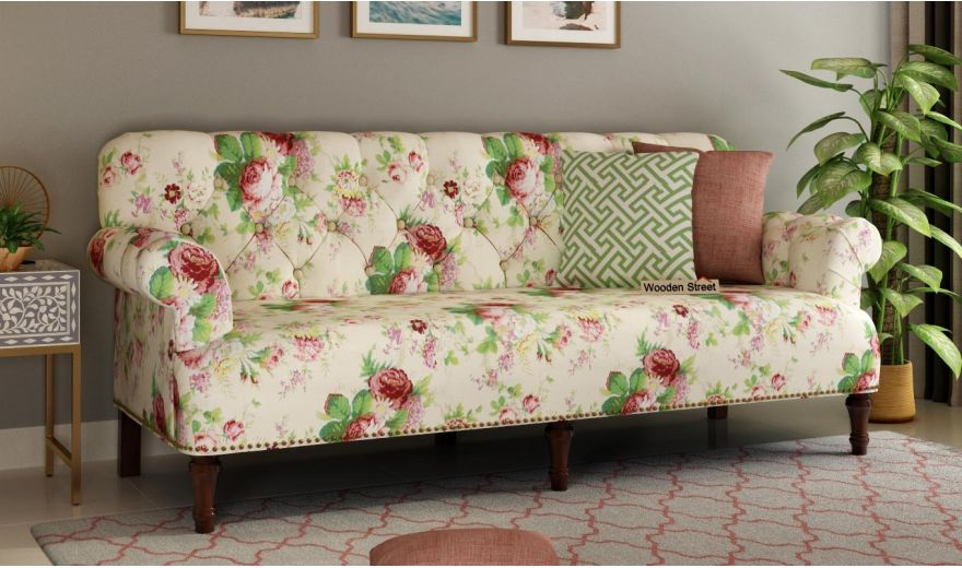 Parker 2 Seater Sofa (Fabric, Cream Blossom)-5