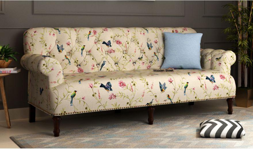 Parker 2 Seater Sofa (Linen, Cream Robins)-6
