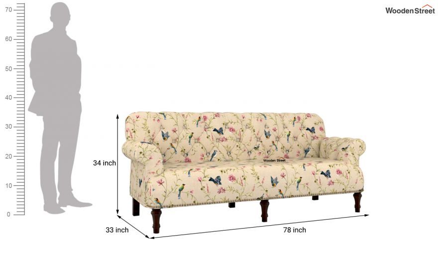 Parker 2 Seater Sofa (Linen, Cream Robins)-10