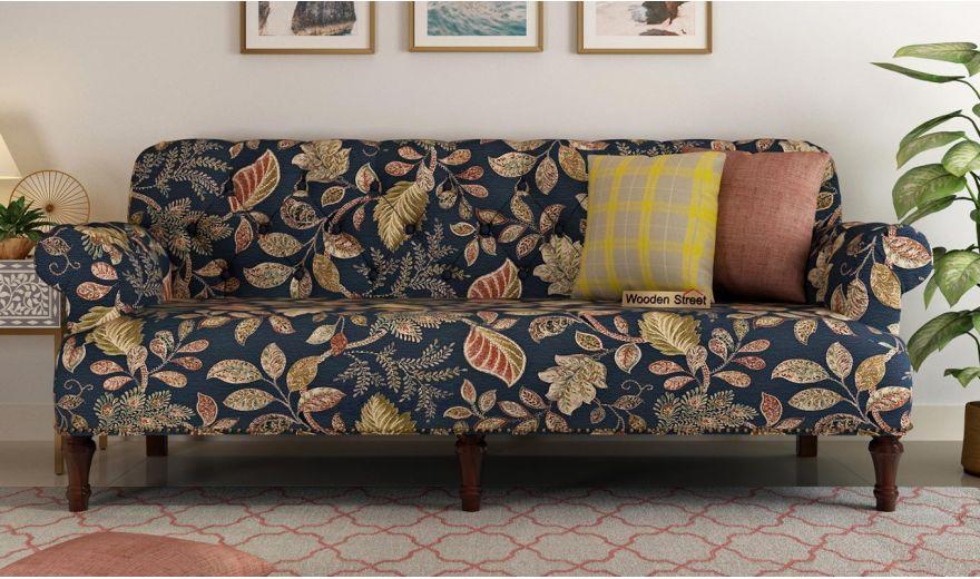 Parker 3 Seater Sofa (Fabric, Dusky Leaf)-2