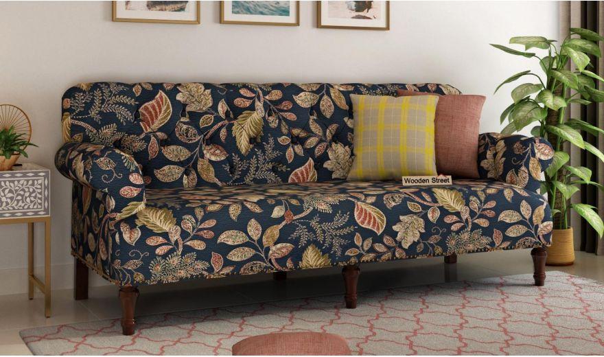 Parker 3 Seater Sofa (Fabric, Dusky Leaf)-1