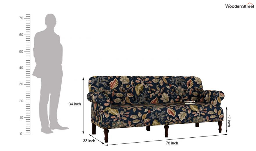 Parker 3 Seater Sofa (Fabric, Dusky Leaf)-12