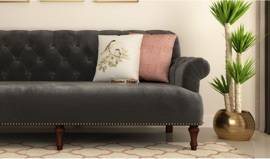 Parker 3 Seater Sofa (Velvet, Graphite Grey)-3