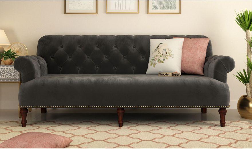 Parker 3 Seater Sofa (Velvet, Graphite Grey)-2