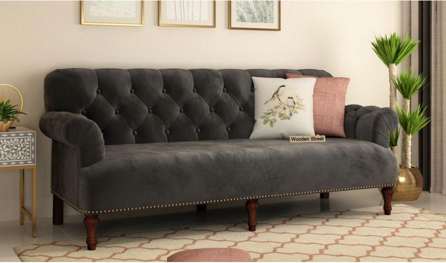 Parker 3 Seater Sofa (Velvet, Graphite Grey)-1