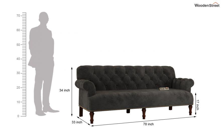 Parker 3 Seater Sofa (Velvet, Graphite Grey)-14