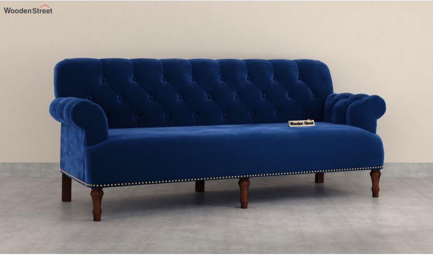 Parker 3 Seater Sofa (Velvet, Indigo Blue)-4