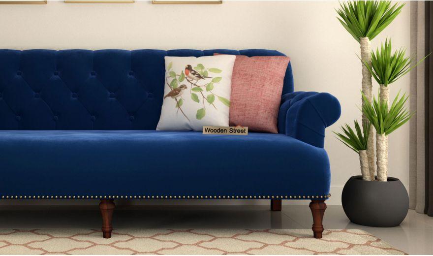 Parker 3 Seater Sofa (Velvet, Indigo Blue)-3