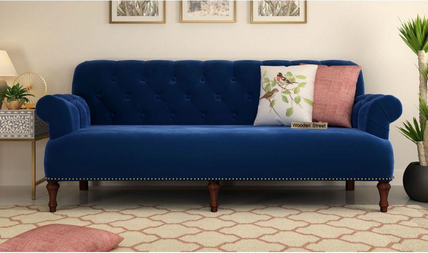 Parker 3 Seater Sofa (Velvet, Indigo Blue)-2
