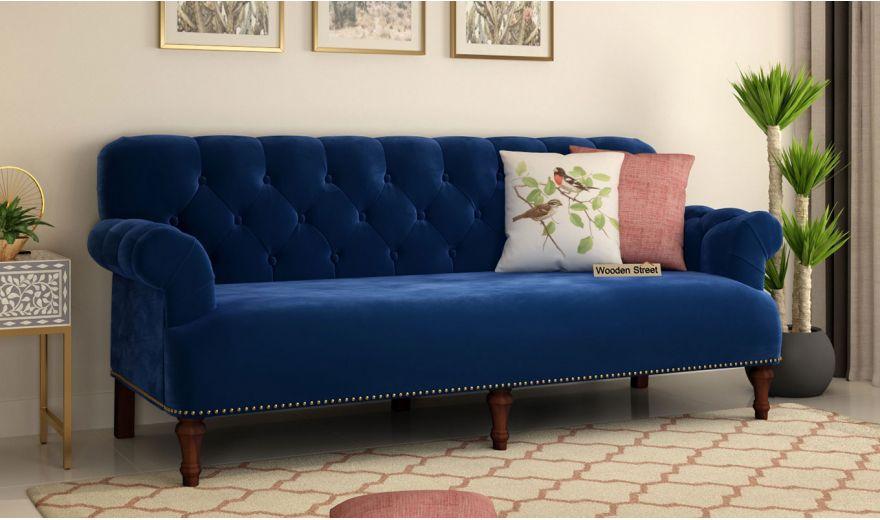 Parker 3 Seater Sofa (Velvet, Indigo Blue)-1