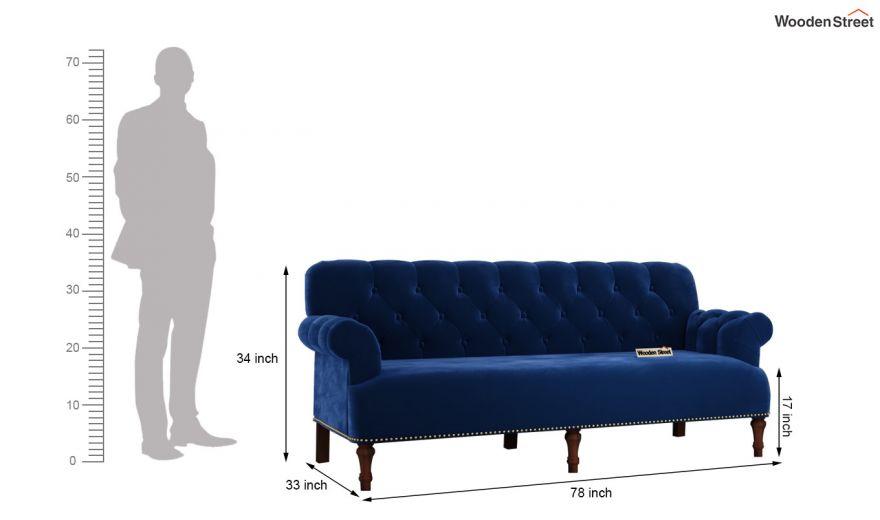 Parker 3 Seater Sofa (Velvet, Indigo Blue)-14