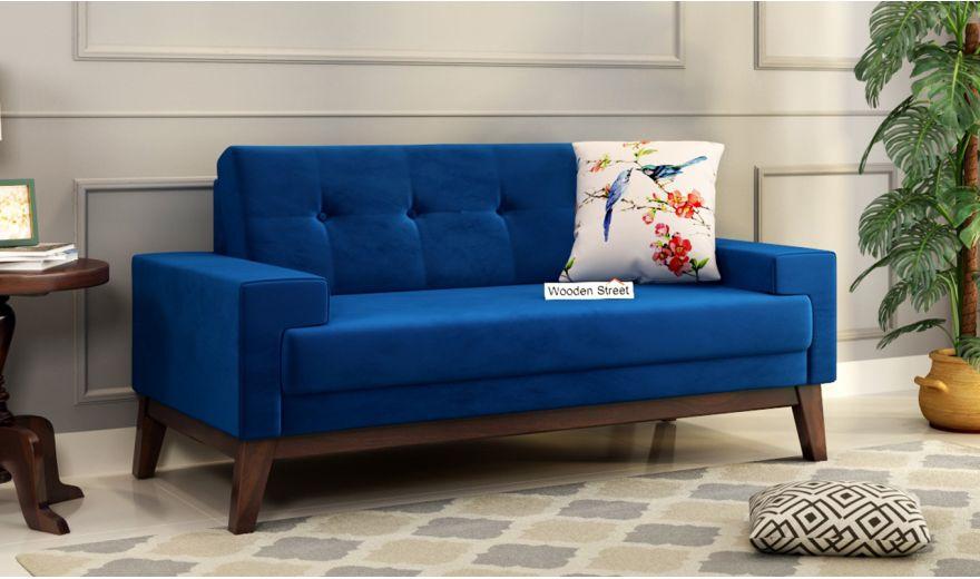 Richie 2 Seater Sofa (Velvet, Indigo Blue)-1