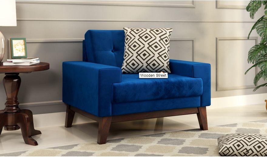 Richie 2 Seater Sofa (Velvet, Indigo Blue)-5