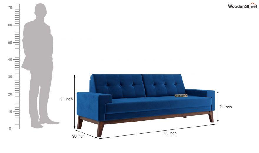 Richie 2 Seater Sofa (Velvet, Indigo Blue)-11