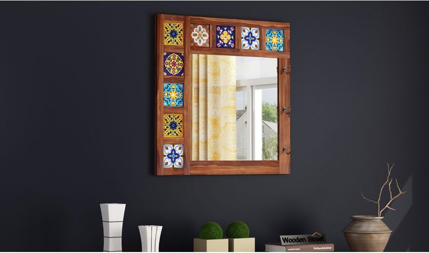 Boho Mirror With Hook (Teak Finish)-1