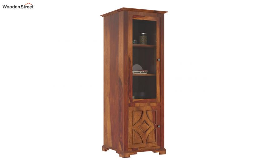 Martin Single Door Crockery Unit (Honey Finish)-2