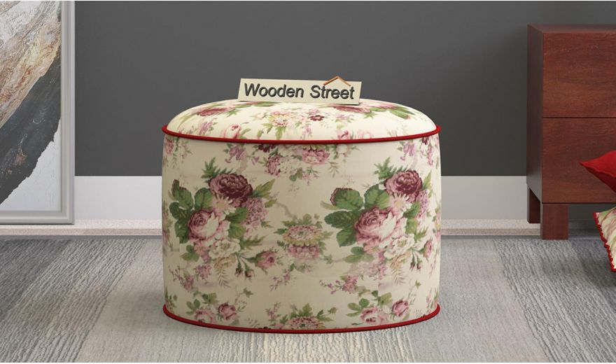 Robin Round Pouffe (Cream Blossom)-1