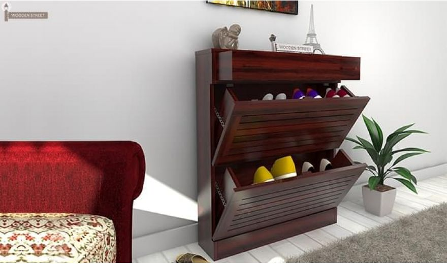 Catlin Shoe Rack (Mahogany Finish)-2
